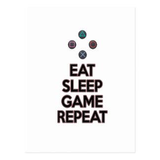 Eat sleep game repeat postcard
