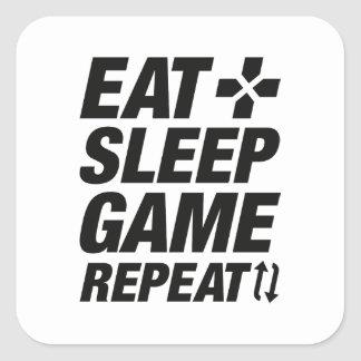 Eat Sleep Game Repeat Square Sticker