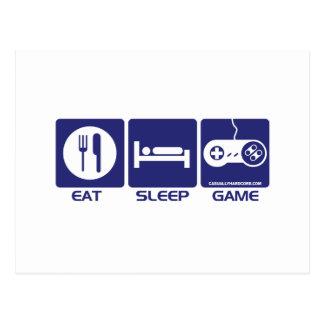 Eat Sleep Game Retro Postcard