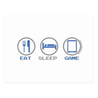EAT SLEEP Game Tablet Postcard