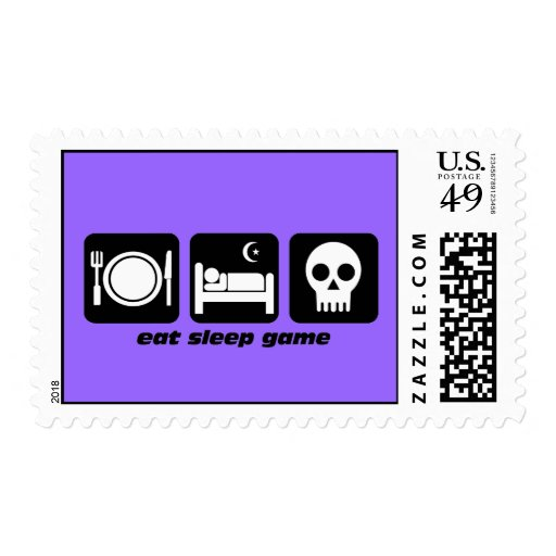eat sleep gaming postage stamp