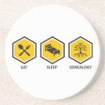 Eat. Sleep. Genealogy. Beverage Coasters