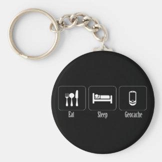 Eat, Sleep, Geocache Basic Round Button Keychain