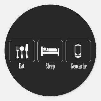 Eat, Sleep, Geocache Classic Round Sticker