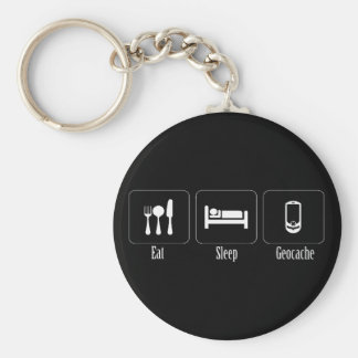 Eat, Sleep, Geocache Keychain