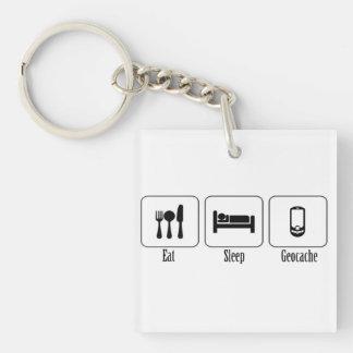 Eat Sleep Geocache Keychain