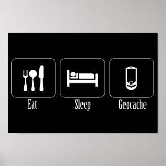 Eat Sleep Geocache Poster