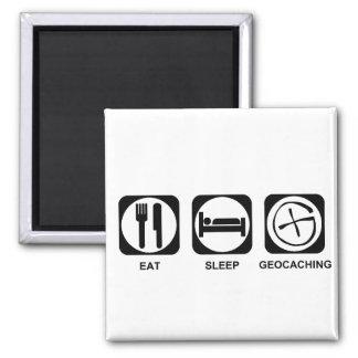 Eat Sleep Geocaching 2 Inch Square Magnet