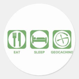 Eat Sleep Geocaching Classic Round Sticker