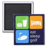 Eat Sleep Golf 2 Inch Square Magnet