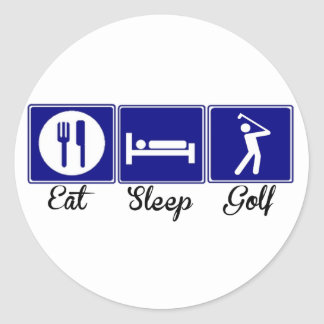 Eat, Sleep, Golf Classic Round Sticker