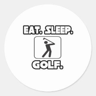 Eat Sleep Golf Classic Round Sticker