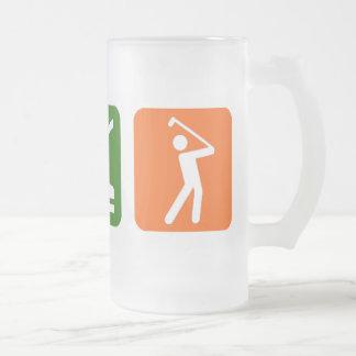 Eat Sleep Golf! Frosted Glass Beer Mug