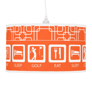 Eat Sleep GOLF Orange Man Cave GOLFER'S Lodge Hanging Lamps