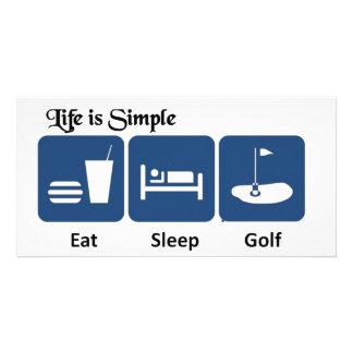 Eat, Sleep, Golf Custom Photo Card
