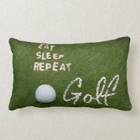 Eat Sleep Golf Pillow with golf ball on green