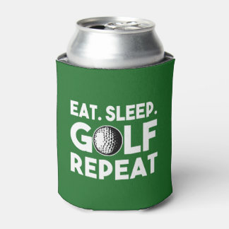 Eat Sleep Golf Repeat Funny beer Can Cooler