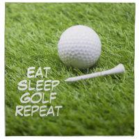 Eat Sleep Golf Repeat with golf ball and tee Cloth Napkin