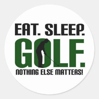Eat sleep golf t shirts and tee classic round sticker