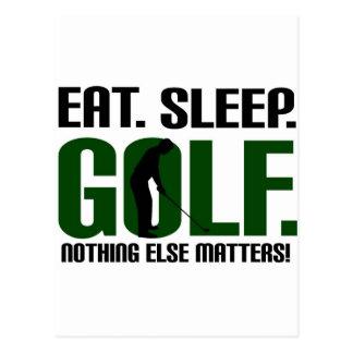 Eat sleep golf t shirts and tee postcard