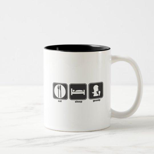 Eat Sleep Gossip Two-Tone Coffee Mug
