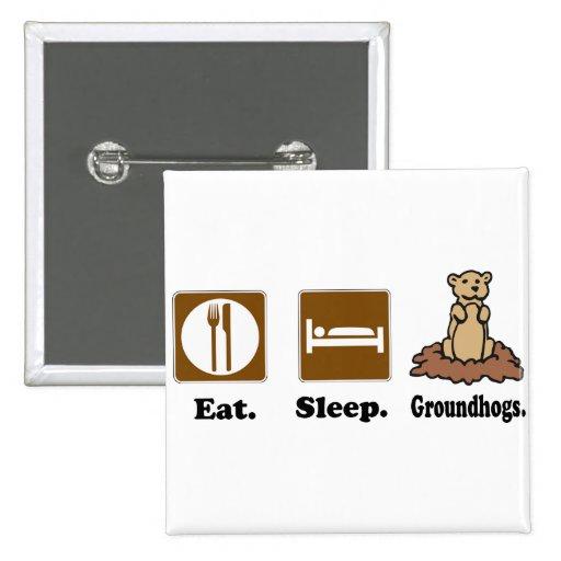 Eat Sleep Groundhogs Pin