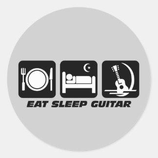 Eat sleep guitar classic round sticker