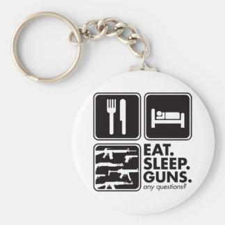 Eat Sleep Guns - Black Keychain