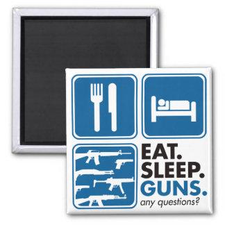 Eat Sleep Guns - Blue 2 Inch Square Magnet