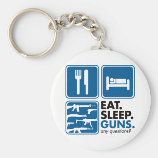 Eat Sleep Guns - Blue Keychain