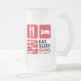 Eat Sleep Guns - Red Frosted Glass Beer Mug