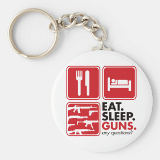 Eat Sleep Guns - Red Keychain