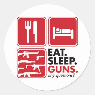 Eat Sleep Guns - Red Classic Round Sticker