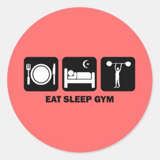 eat sleep gym classic round sticker