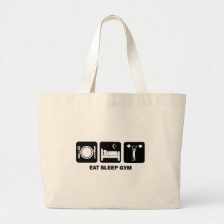 eat sleep gym jumbo tote bag