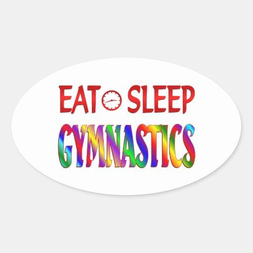 Eat Sleep Gymnastics Oval Sticker