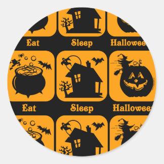 Eat Sleep Halloween Round Stickers