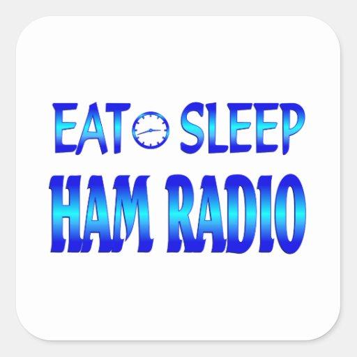 Eat Sleep Ham Radio Square Stickers