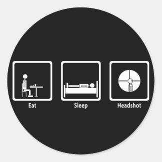 Eat, Sleep, Headshot - FPS Gamer Classic Round Sticker
