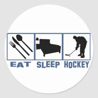 Eat Sleep Hockey Image Player With Puck Classic Round Sticker