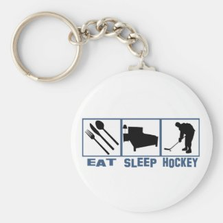 Eat Sleep Hockey Image Player With Puck Keychain