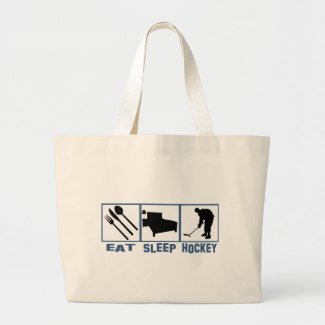 Eat Sleep Hockey Image Player With Puck Large Tote Bag