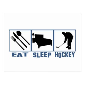 Eat Sleep Hockey Image Player With Puck Postcard