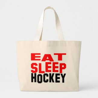 Eat Sleep Hockey Large Tote Bag