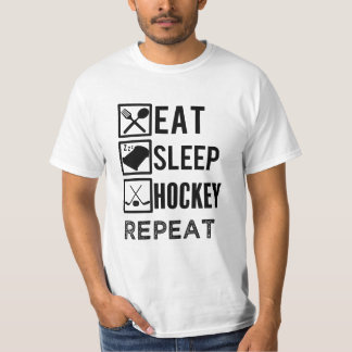 Eat Sleep Hockey Repeat funny mens hockey tshirt