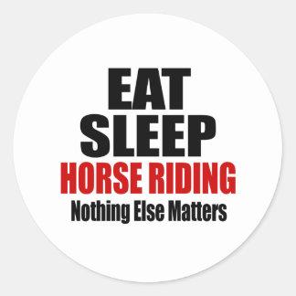 EAT SLEEP HORSE RIDING CLASSIC ROUND STICKER