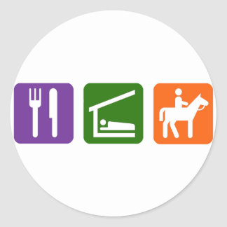Eat Sleep Horseback Riding Classic Round Sticker