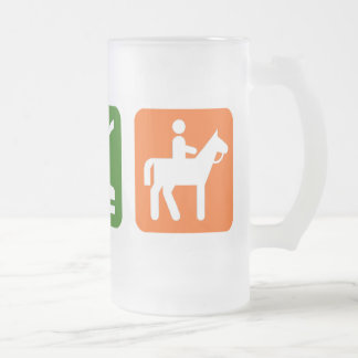 Eat Sleep Horseback Riding Frosted Glass Beer Mug