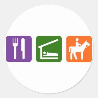 Eat Sleep Horseback Riding Classic Round Sticker