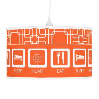 Eat Sleep Hunt Orange Man Cave Hunters Lodge Pendant Lamps